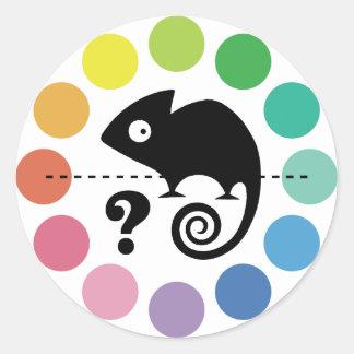 Colorful chameleon classic round sticker