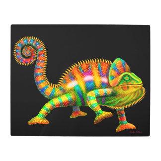 Colorful Chameleon Metal Art Print