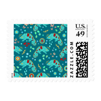 Colorful Chameleon Pattern Stamps