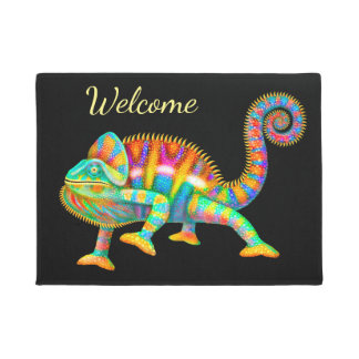 Colorful Chameleon Welcome Door Mat