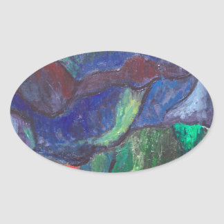 Colorful Chaos (abstract landscape) Oval Sticker