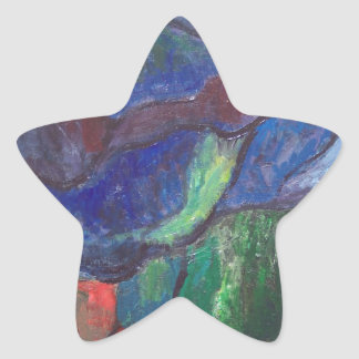 Colorful Chaos (abstract landscape) Star Sticker