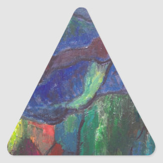 Colorful Chaos (abstract landscape) Triangle Sticker