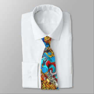 Colorful Chaotic 3D Pattern Neck Tie