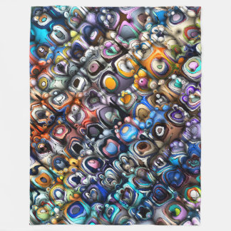 Colorful Chaotic Contours Fleece Blanket