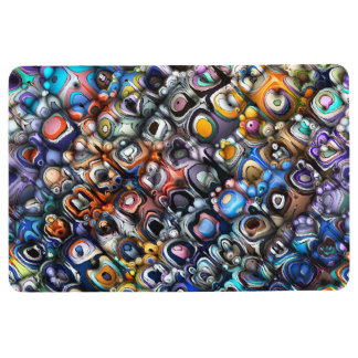Colorful Chaotic Contours Floor Mat