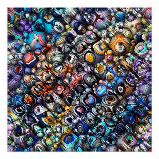 Colorful Chaotic Contours Poster