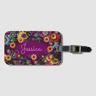 Colorful Chaotic Floral Pattern Bag Tag