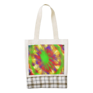 Colorful chaotic pattern zazzle HEART tote bag