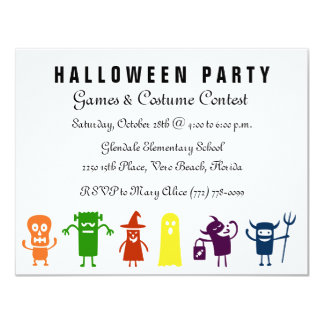 Colorful Characters Kids Halloween Costume Party 4.25x5.5 Paper Invitation Card