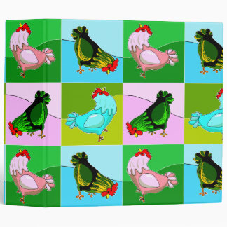 Colorful Chatty Chickens Binder