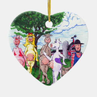 Colorful Chatty Cows Ceramic Heart Ornament