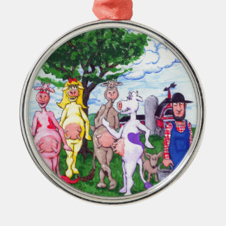 Colorful Chatty Cows Silver-Colored Round Ornament