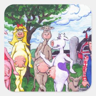 Colorful Chatty Cows Square Sticker