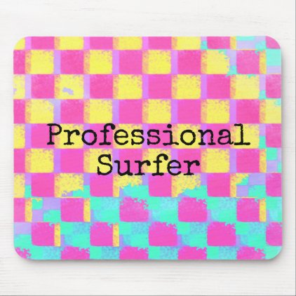 Colorful Checkerboard Professional Surfer Funny Mouse Pad