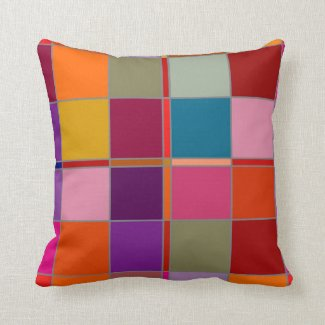 Colorful Checkered Geometric Pattern Pillow