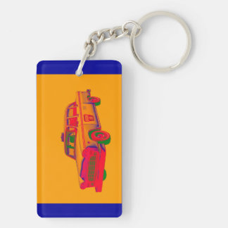Colorful Checkered Taxi Cab Pop Art Double-Sided Rectangular Acrylic Keychain