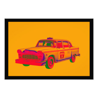 Colorful Checkered Taxi Cab Pop Art Photo Print