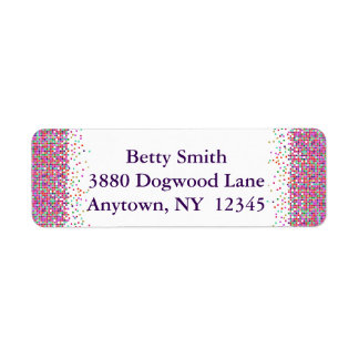 Colorful Checks Design Return Address Labels
