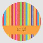 Colorful, cheerful stripes round sticker