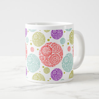 Colorful Cheerful Stylized Retro Floral Pattern Large Coffee Mug