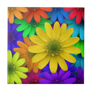 Colorful, Cheery, Summery Daisies Ceramic Tile