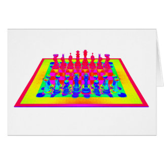 Colorful Chessboard & Chess Pieces Card