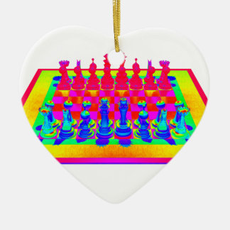 Colorful Chessboard & Chess Pieces Ceramic Ornament