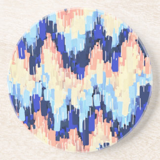 Colorful Chevron Abstract Painting in Blue Drink Coaster