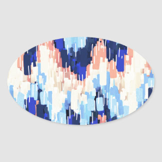 Colorful Chevron Abstract Painting in Blue Oval Sticker