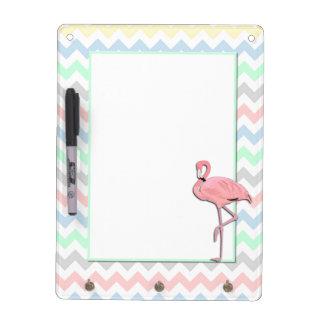 Colorful Chevron and Flamingo Dry Erase Board