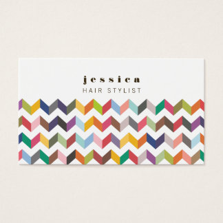 Colorful Chevron Arrows Pattern Hair Stylist Card