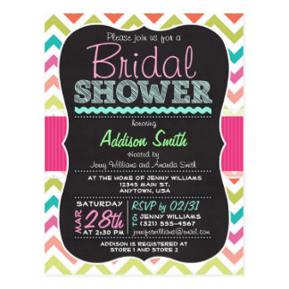 Colorful Chevron Chalkboard look Bridal Shower Postcard