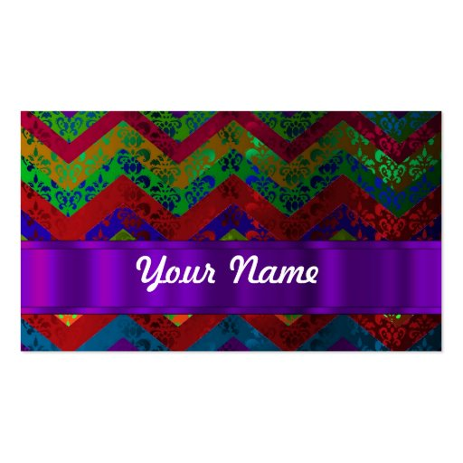 Colorful chevron damask pattern business card