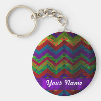 Colorful chevron damask pattern keychain