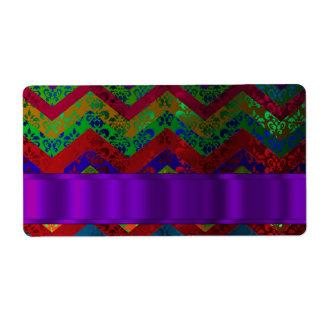 Colorful chevron damask pattern shipping label