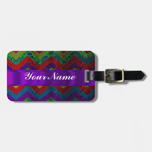 Colorful chevron damask pattern luggage tags