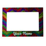 Colorful chevron damask pattern picture frame magnets
