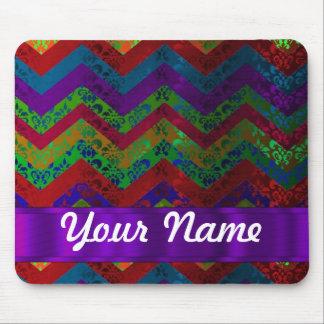 Colorful chevron damask pattern mouse pads