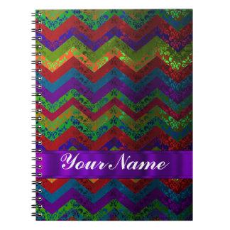 Colorful chevron damask pattern notebook