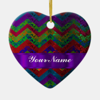 Colorful chevron damask pattern christmas ornaments