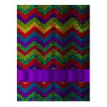 Colorful chevron damask pattern postcard