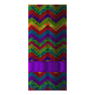 Colorful chevron damask pattern rack card