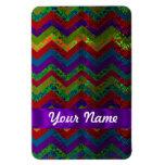 Colorful chevron damask pattern rectangle magnet