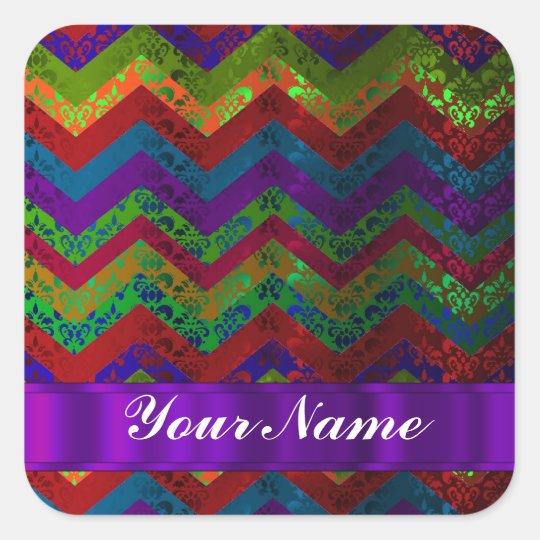 Colorful chevron damask pattern square sticker