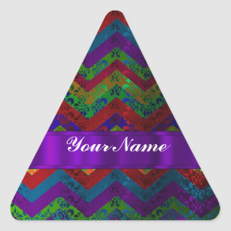 Colorful chevron damask pattern triangle stickers
