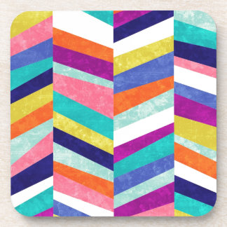 Colorful Chevron Geometric Abstract Drink Coaster