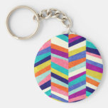 Colorful Chevron Geometric Abstract Basic Round Button Keychain