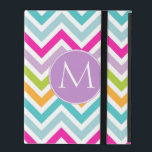 """Colorful Chevron Monogram iPad Case<br><div class=""""desc"""">Modern iPad case done in a cheerful bright pink,  lavender,  green,  aqua,  yellow,  and white chevron zigzag pattern.  A round lavender colored disc,  on the front,  has a large white one letter monogram. Personalize the letter for  yourself or as a sweet gift idea.</div>"""