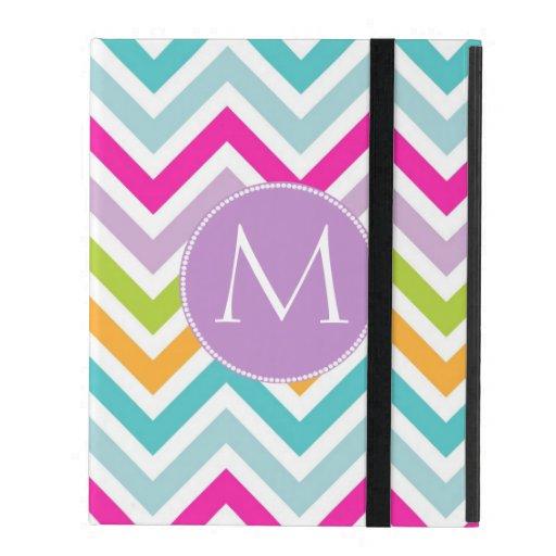 Colorful Chevron Monogram iPad Case